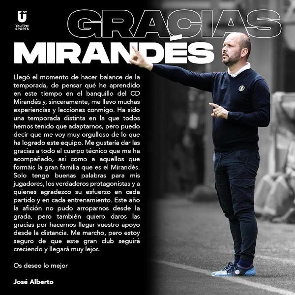 José Alberto López se despide con una carta del Mirandés