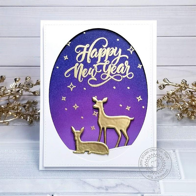 Sunny Studio Stamps: Season's Greetings Rustic Winter Dies Happy New Year's Card by Ana Anderson