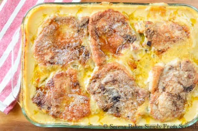 Cheesy Pork Chop Potato Casserole