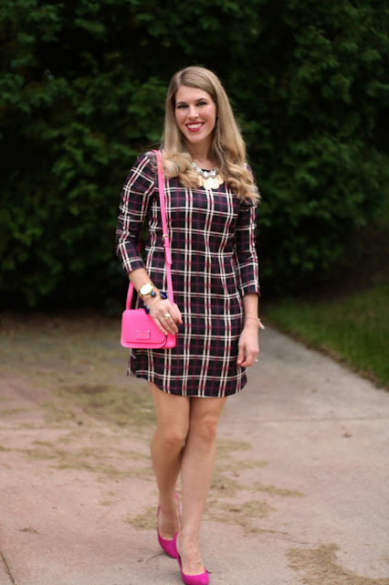 navy and pink plaid dress with pink heels and pink crossbody Kate Spade purse