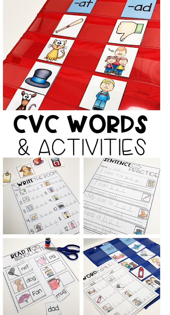 Teacher your kindergarten students early reading skills with these CVC word worksheets and activities. #cvcwords #kindergarten #worksheets #activities #centers
