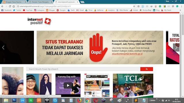 Situs web yang terkena blokir (tampilan internet positif)