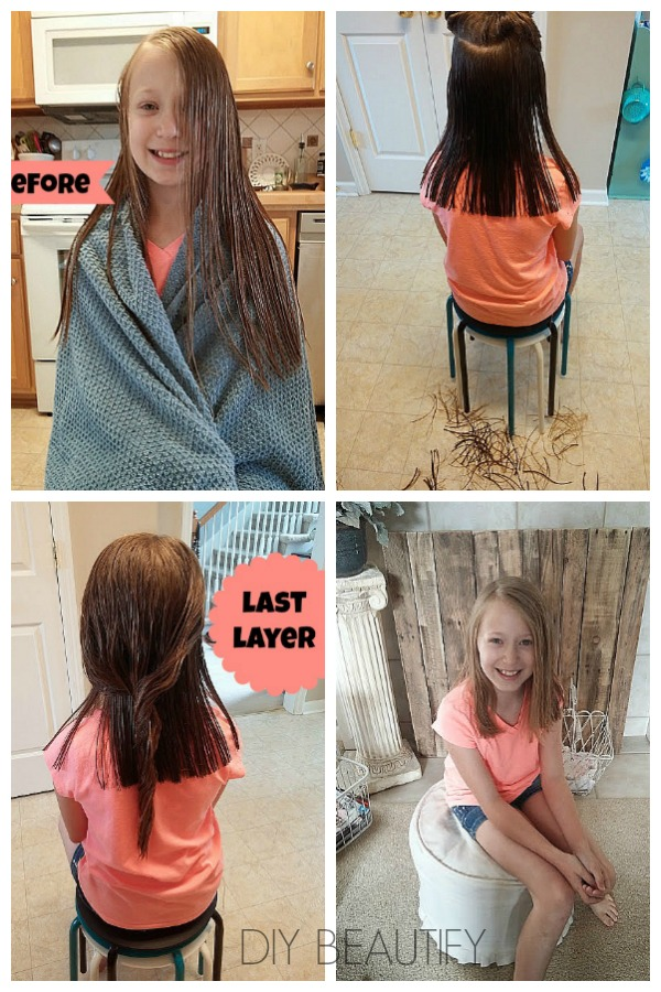 steps to cutting girl's long hair