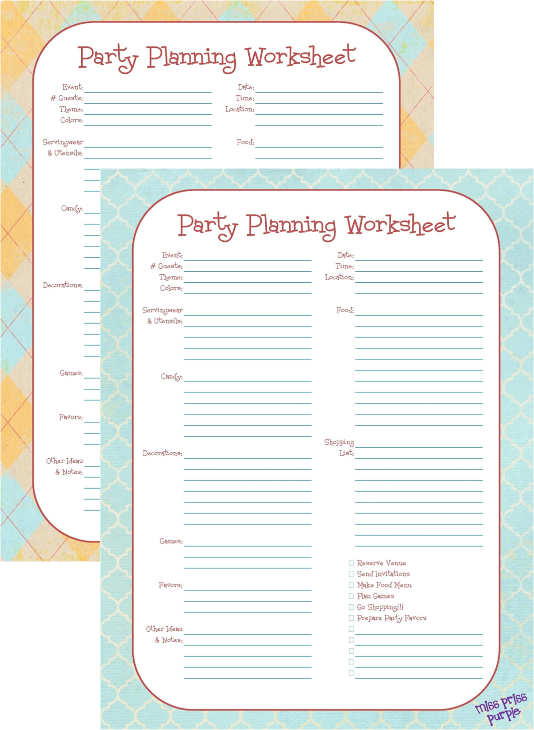 Miss Priss Purple Party Planning 2 Printable