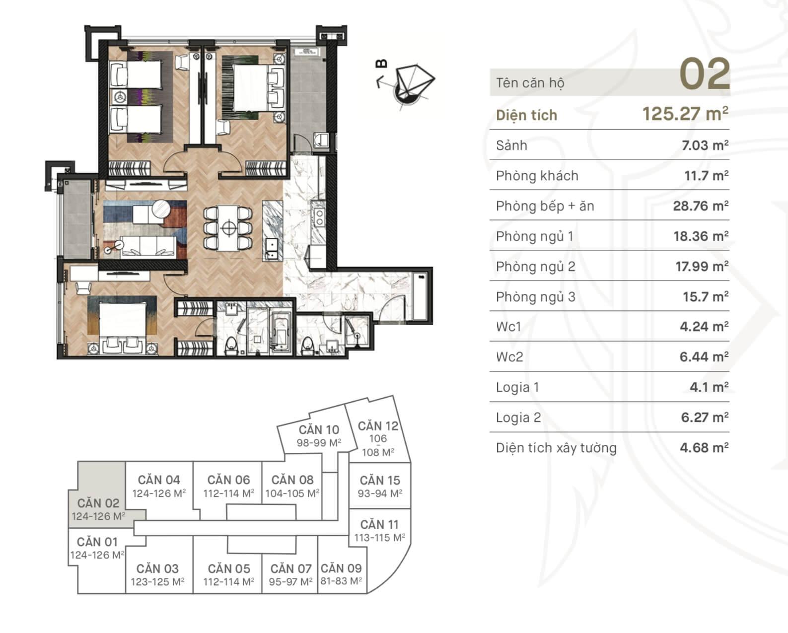 Thiết kế căn 02 chung cư 108 Nguyễn Trãi