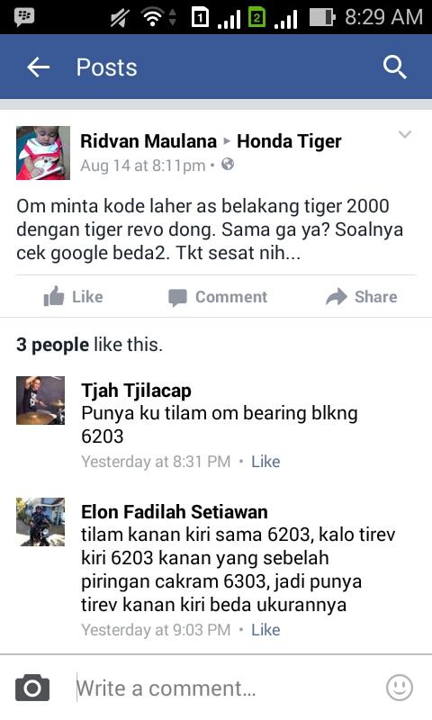 Berapa Ukuran / Kode Laher Roda Tiger 2000 dan Tiger Revo ?