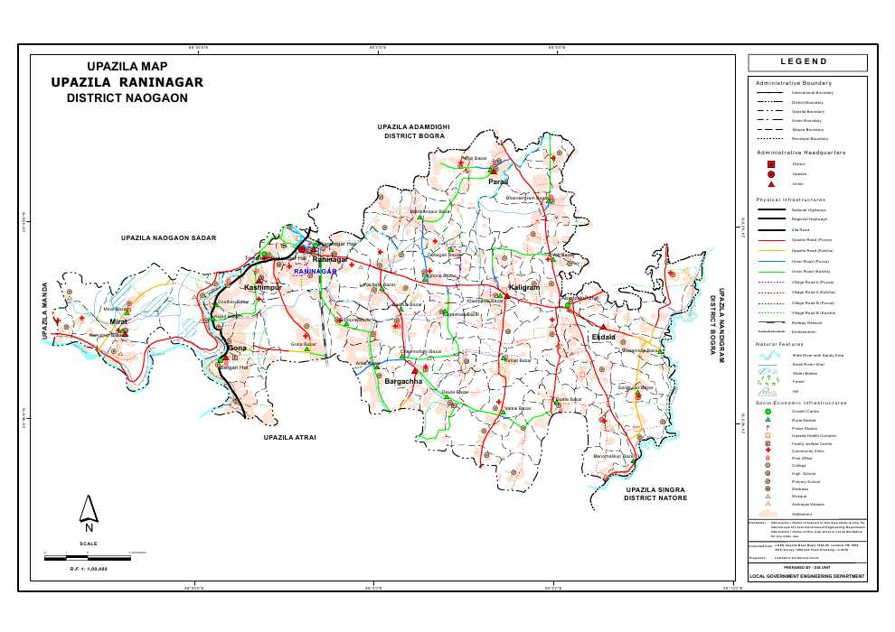 Raninagar Upazila Map Naogaon District Bangladesh