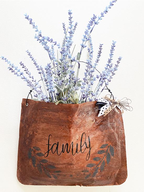 vintage leather look bag with lavender