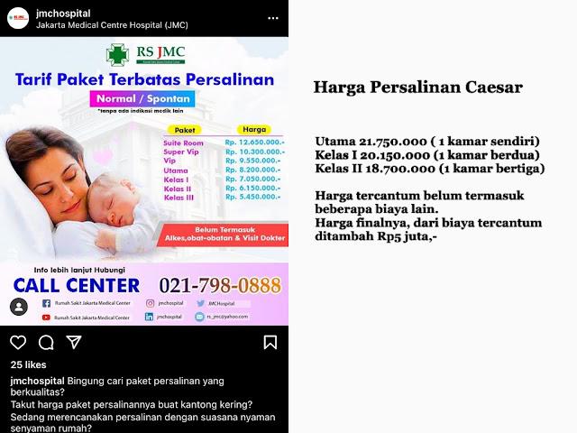 Biaya lahiran di Jakarta Medical Center