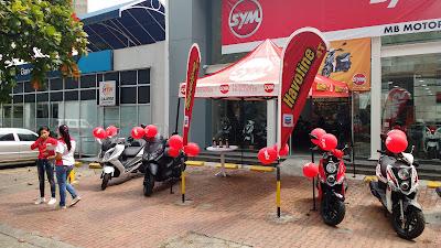 Activacion de marca en el almacen de MB MNotor Cali. Motocicletas SYM