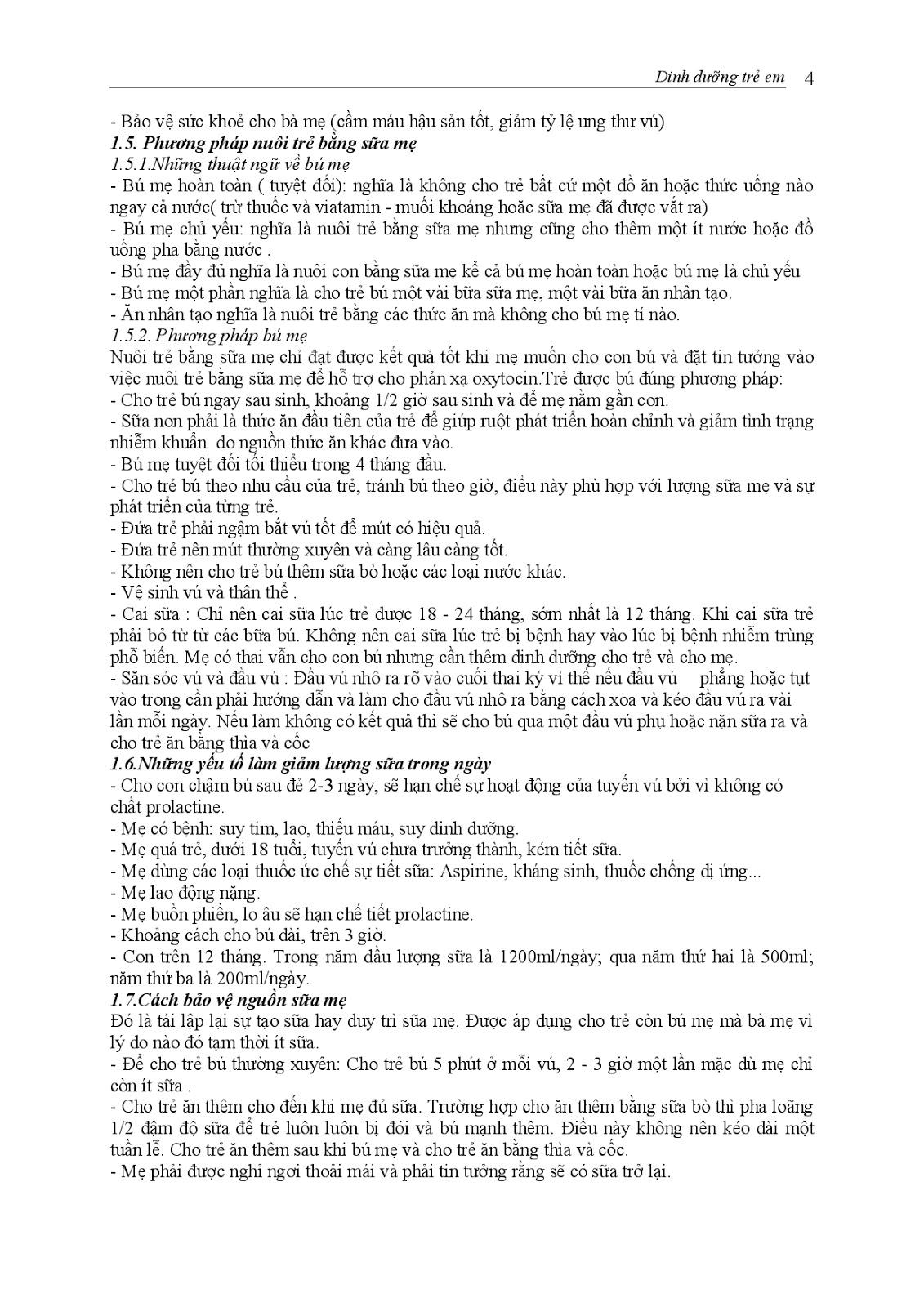 Trang 4 sach Bài giảng Nhi khoa I (Nhi khoa cơ sở - Nhi dinh dưỡng) - ĐH Y Huế