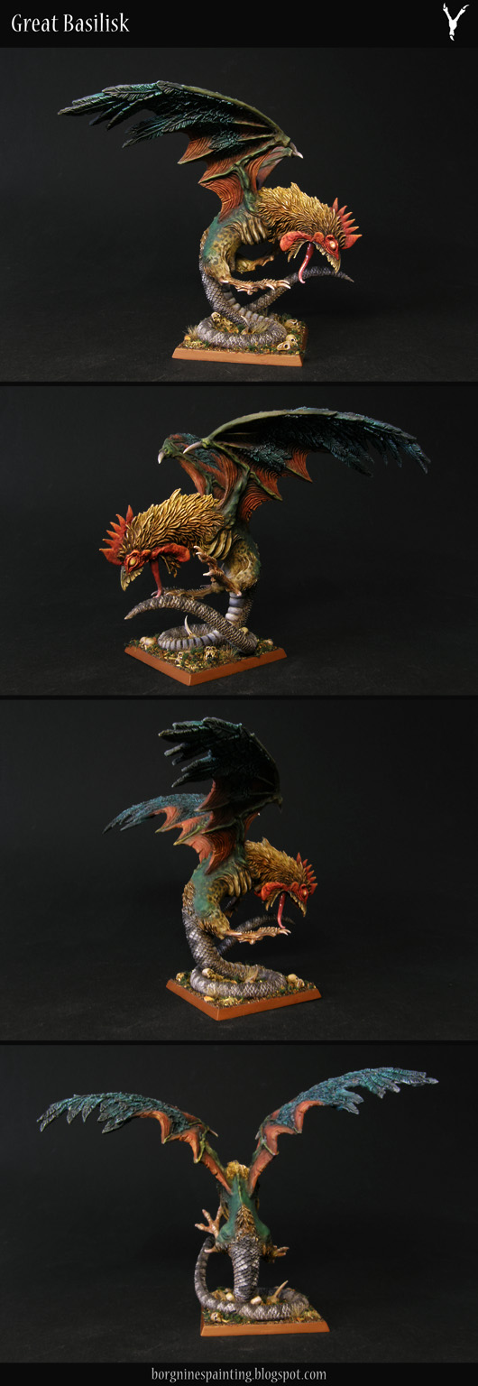 Painted, converted Cockatrice miniature for Warhammer, made to resemble a Basilisk more. It has big, petryfying eyes and a rooster's crest. It is standing on its tail, with clawed feet extended forward.