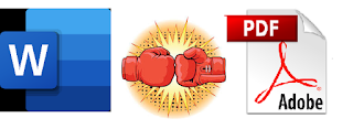 Word & PDF logos with boxing gloves punching in between