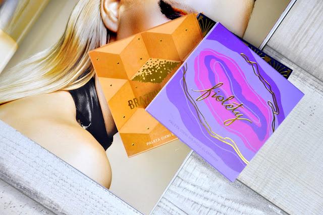 paletki cieni glamshop fiolety, brązowy cukier, gorączka złota, morelova