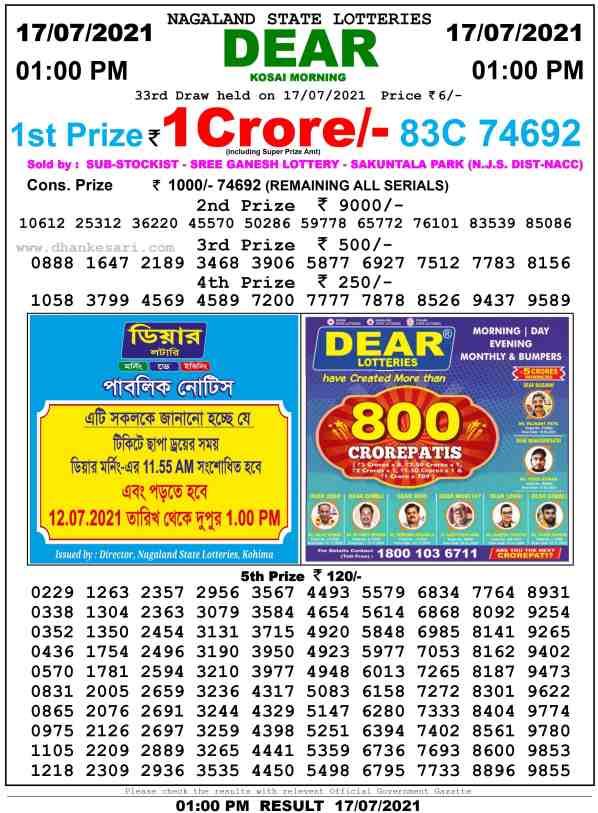 lottery sambad 17 7 2021 morning 1pm