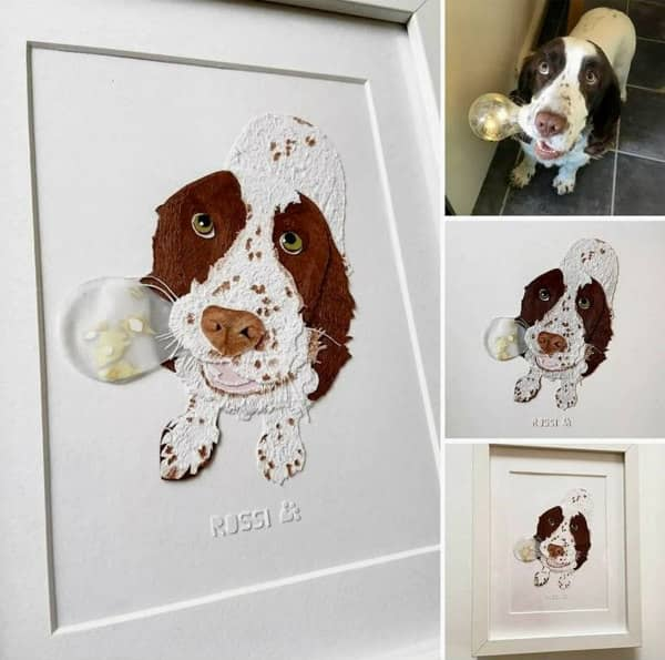paper art spaniel dog portrait