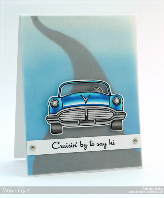 Sunny Studio Stamps: Sock Hop Masculine Retro Car Card by Debbie Olson.