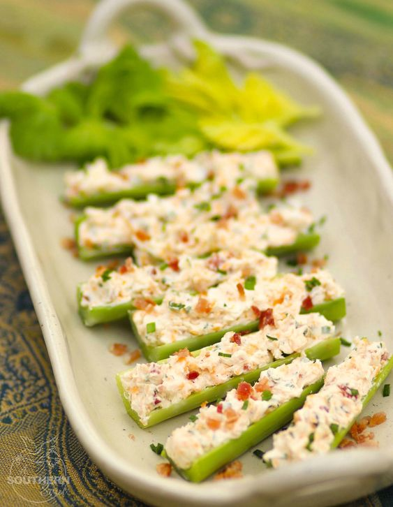 Celery sticks stuffed with cream cheese, bacon, herbs and cheddar cheese are outrageously good! Served as an appetizer or snack, this is a recipe that's sure to become a favorite at parties, cookouts and family gatherings.