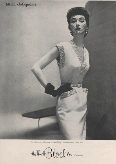 Dovima in Pattullo-Jo Copeland Sleeveless Sheath of Swiss Faille The Wm. H. Block Co. of Indianapolis Fall 1950 Collection