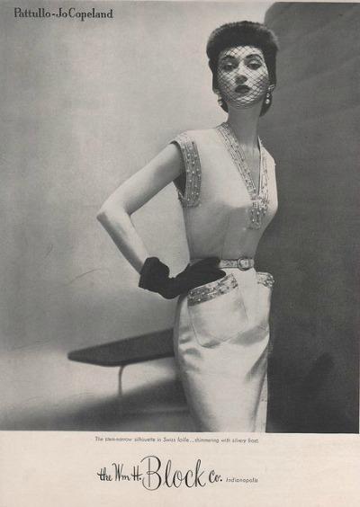 Dovima in Pattullo-Jo Copeland Sleeveless Sheath of Swiss Faille The Wm. H. Block Co. of Indianapolis Fall 1950 Collection