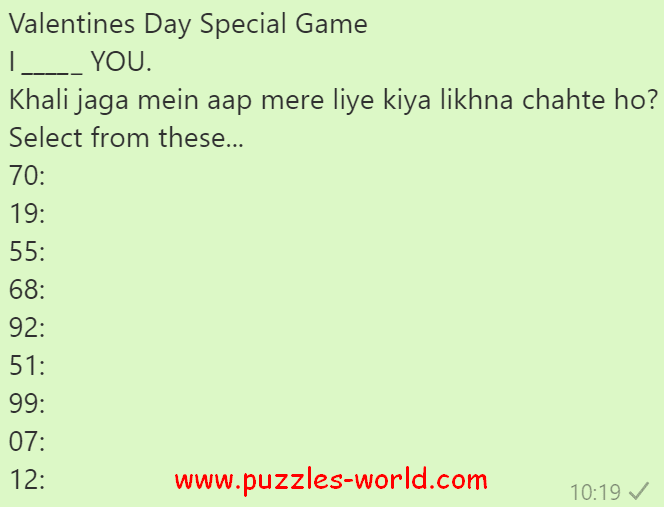 Valentines Day Special Game