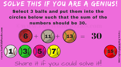 Answer of Baseball Maths Addition Puzzle