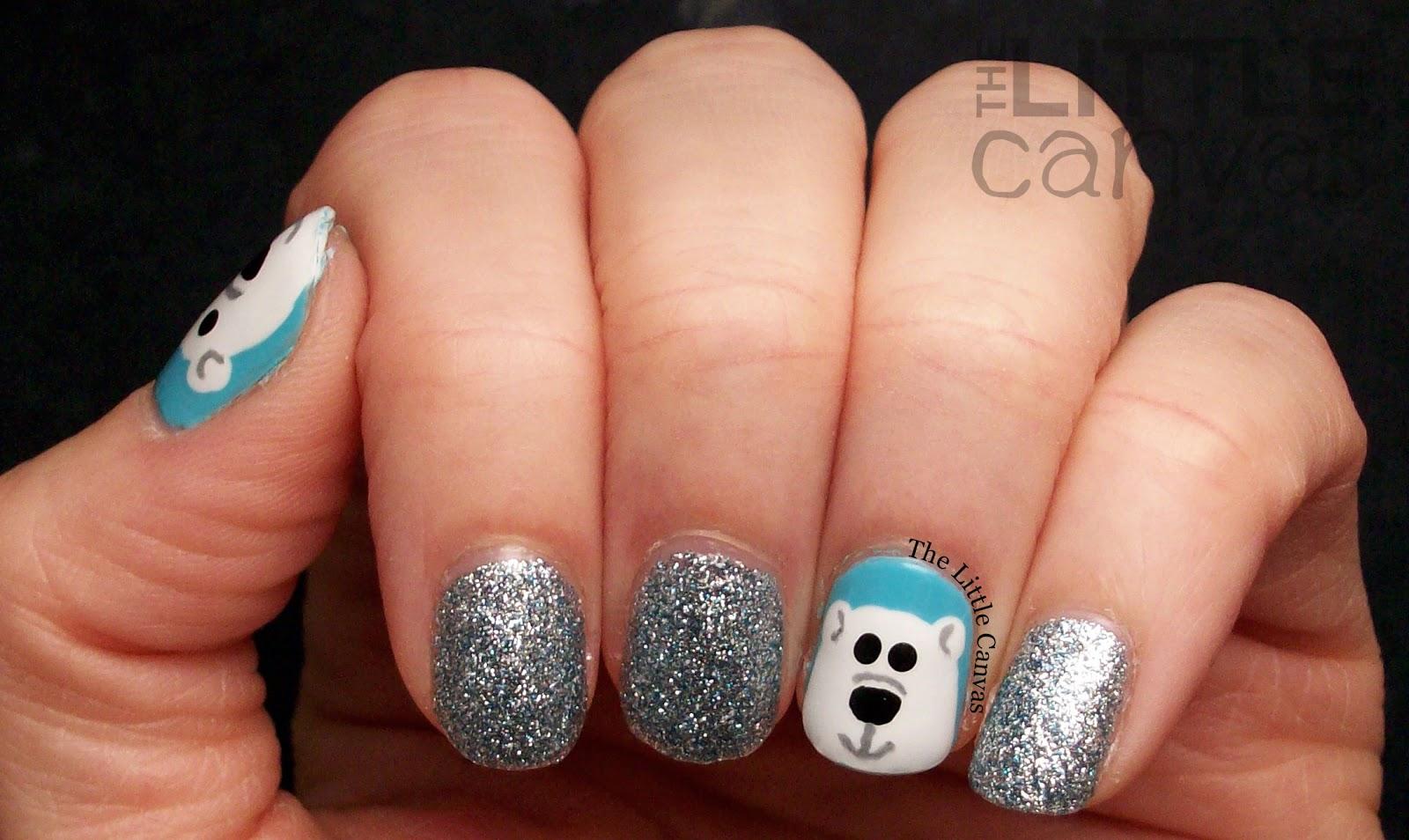 Polar Bear Nail Art - The Little Canvas