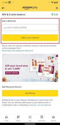 Add a Gift Card to Amazon pay balance
