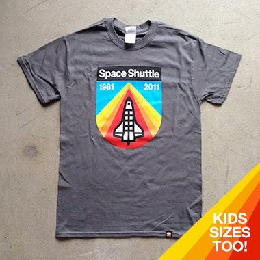 """Space Shuttle Tribute"" T-Shirt by Draplin Design Co. - ""Moon Rock"" Gray"