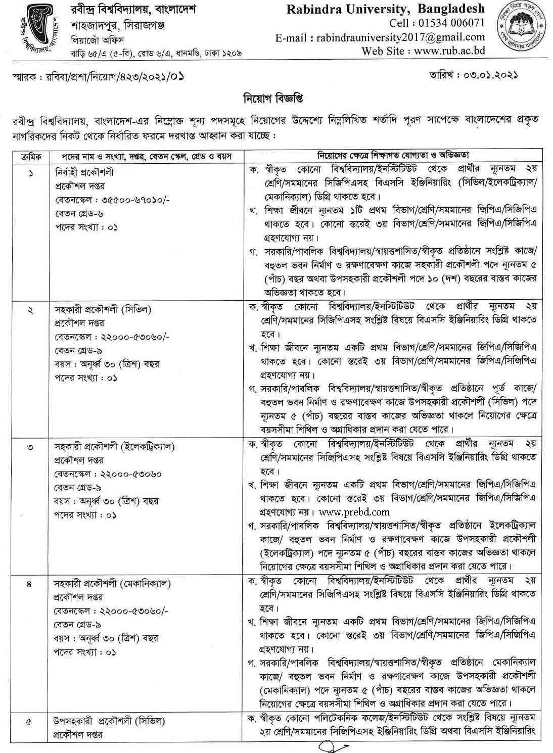 রবীন্দ্র বিশ্ববিদ্যালয়, বাংলাদেশ এ নিয়োগ বিজ্ঞপ্তি ২০২১ | www.rub.ac.bd Job circular 2021
