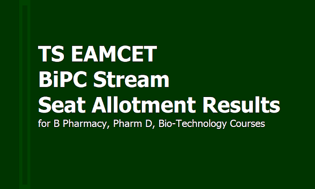 TS EAMCET BiPC Stream Seat Allotment Results for B Pharmacy, Pharm D, Bio-Technology Courses