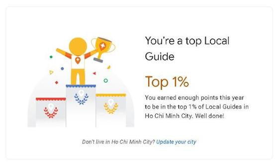 Chứng nhận top 1% local Guide từ google maps