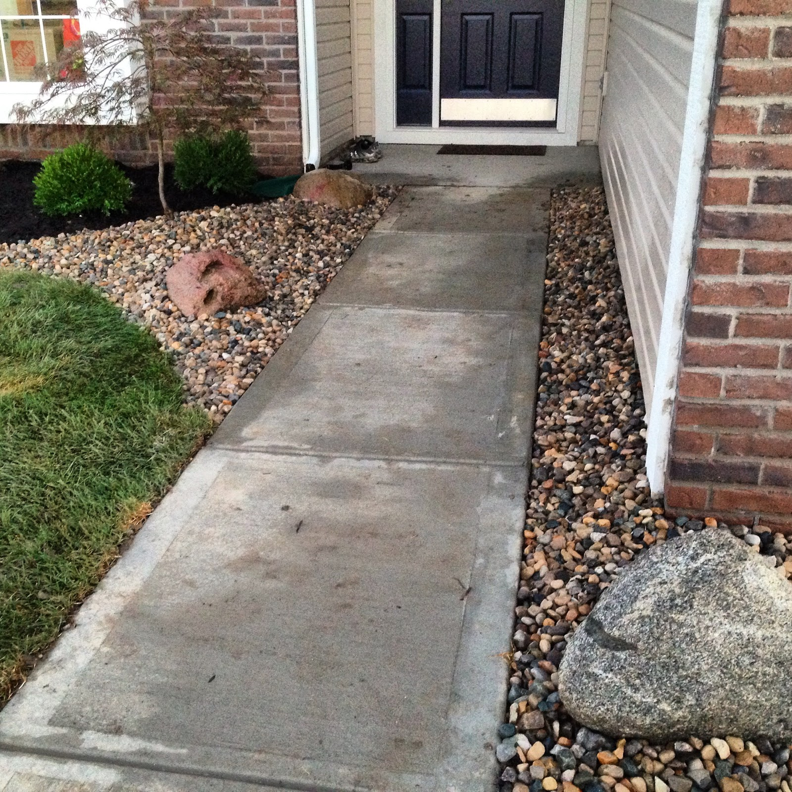 front walkway with rocks