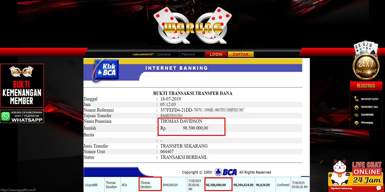 Selamat Kepada Member Setia WarungQQ Withdraw RP  98.500.000
