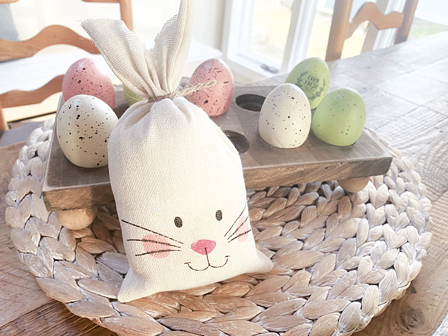bunny with egg holder and speckled eggs
