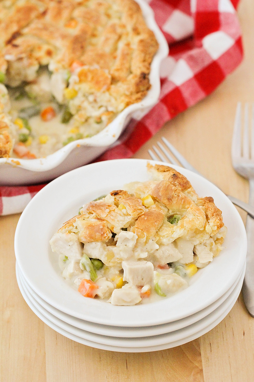 This delicious and savory from scratch chicken pot pie is comfort food at its best!