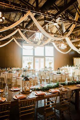 wedding reception setup at Ever After Farms