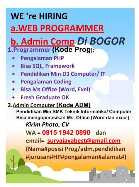Lowongan Kerja Web Programmer dan Admin