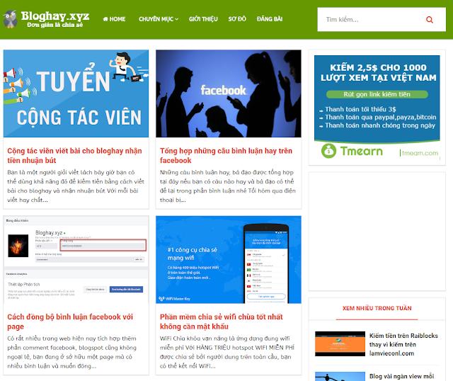 Bán template blog hay hỗ trợ cài đặt
