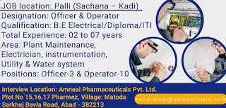 Amneal Pharmaceuticals Pvt. Ltd Walk In Interview For ITI/ Diploma/ B.Sc/ M. Pharm/ B. Pharm/D. Pharm Experience Holders On Officer & Operator Posts
