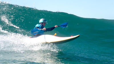 HP surf kayaking on the Mendocino Coast of California with kayak instructor Cate Hawthorne