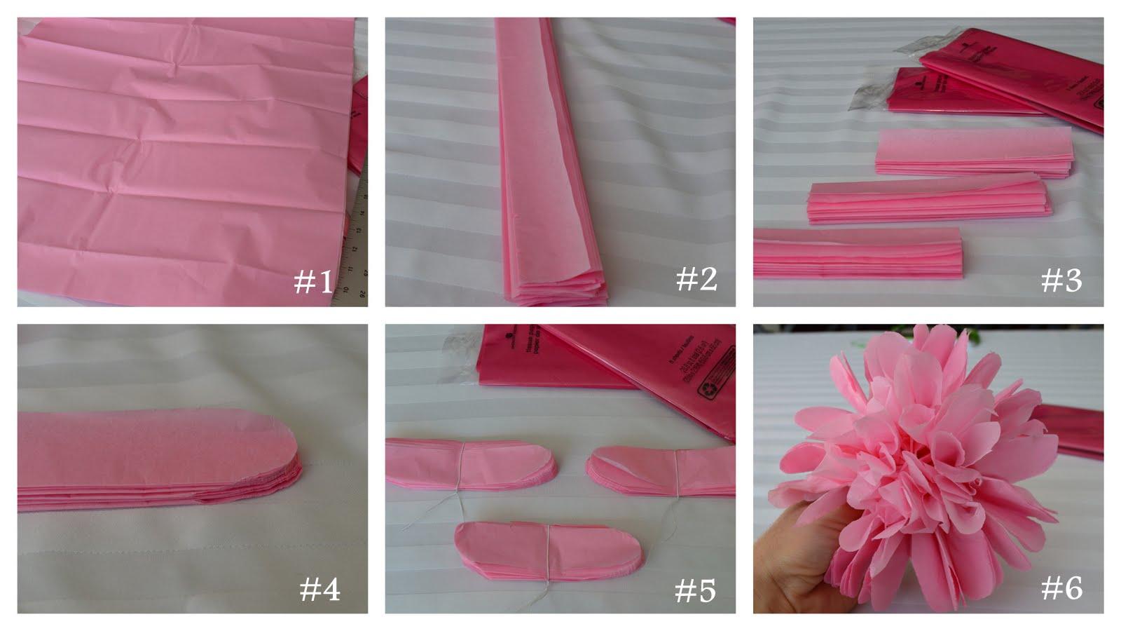 inspired living tissue paper flower tutorial. Black Bedroom Furniture Sets. Home Design Ideas