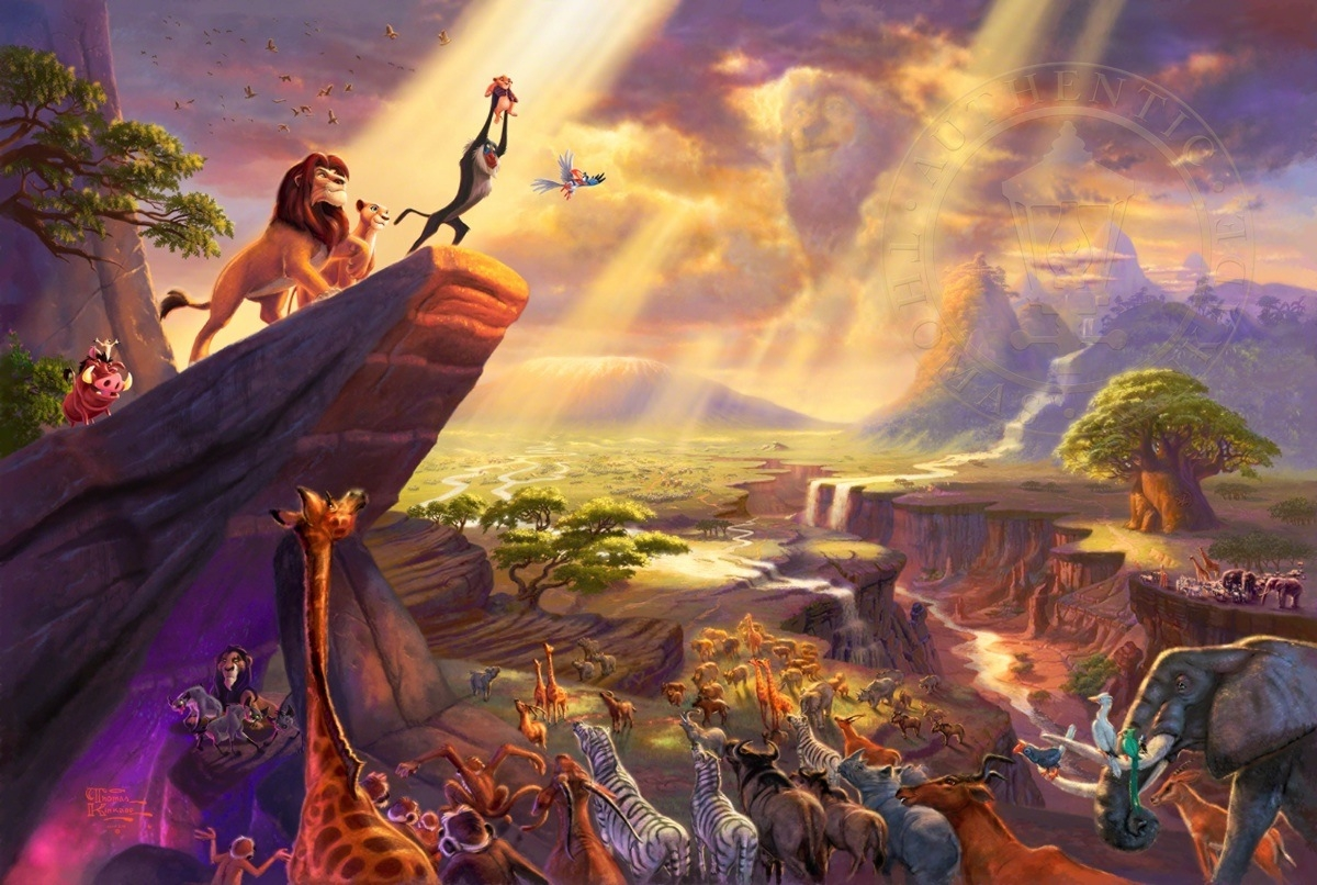 13-The Lion King-Thomas-Kinkade-Walt-Disney-Stories-Seen-Through-Paintings-www-designstack-co