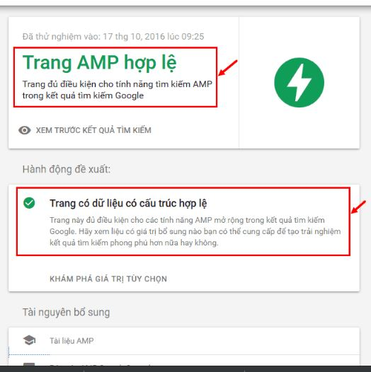 Trang AMP hợp lệ sau khi kiểm tra với Google sẽ hiện logo AMP màu xanh lục.