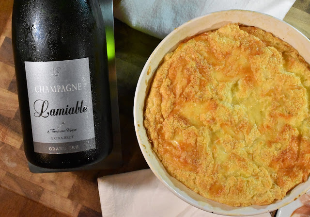 Champagne Lamiable Extra Brut with a Cheese Soufflé.