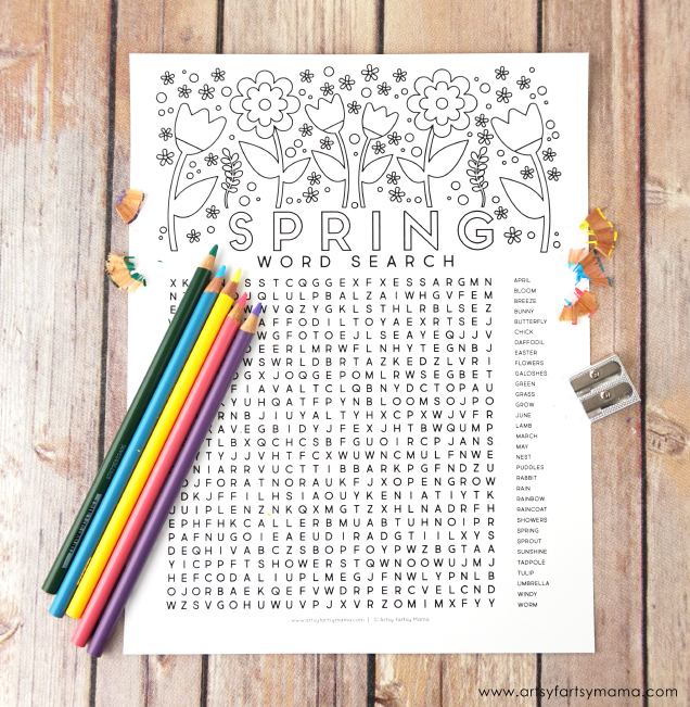 Free Printable Spring Word Search Coloring Page