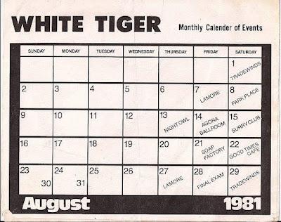 White Tiger club calendar August 1981