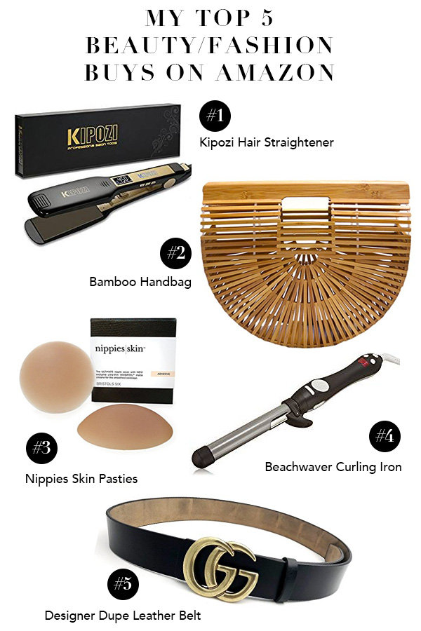 Top 5 Amazon Beauty Buys, Top 5 Amazon Fashion Buys, Best Amazon Beauty Buys, Best Amazon fashion Buys, Beachwaver, Hair Straightener, Bamboo Bag, Gucci Belt dupe