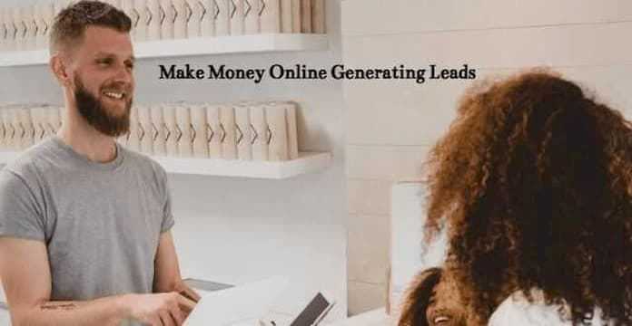 Make money online generating leads, woman selling services to a man.
