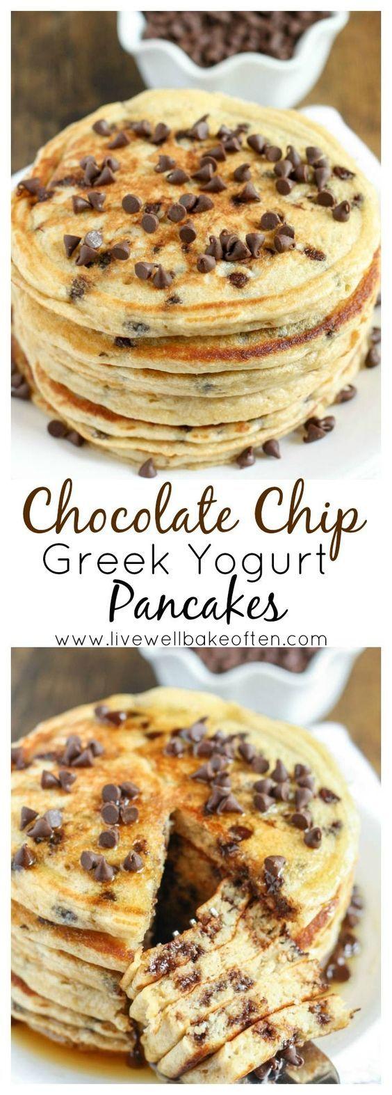 Chocolate Chip Greek Yogurt Pancakes #breakfast #american #chocolate #yogurt #pancakes